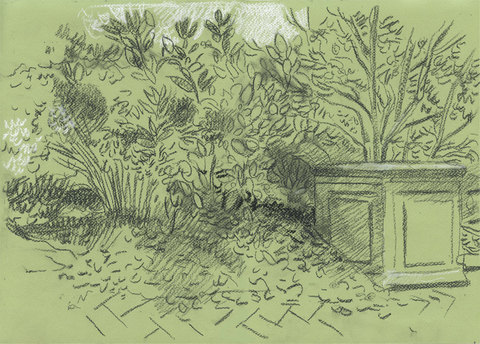 Charles Basman  Drawings after ancient art Black and white chalk on light green paper