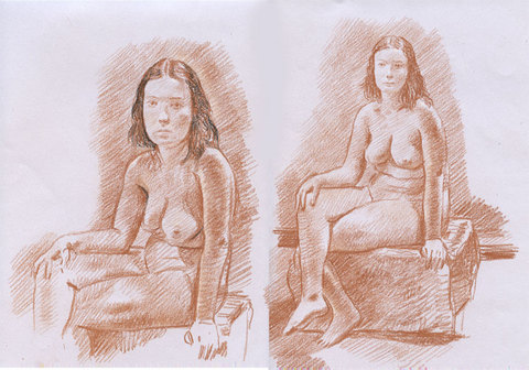 Charles Basman  Figure drawings Red, black and white chalk