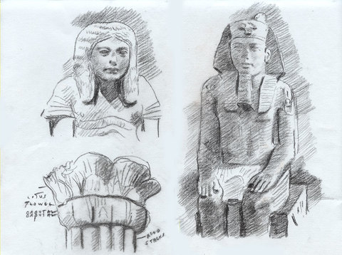 Charles Basman  Drawings after ancient sculpture Black, red and white chalk on light green paper