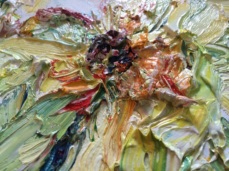 "Big Sky Studio Works, and Plein Air Abstractions detail: ""Letting Go, Yellow Peony"""