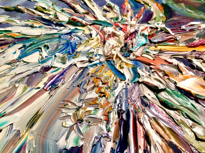 "Big Sky Studio Works, and Plein Air Abstractions close detail of ""Queen of the Night"" ( Night Blooming Cereus)"