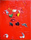 Table of Contents impasto oil paint collage on canvas