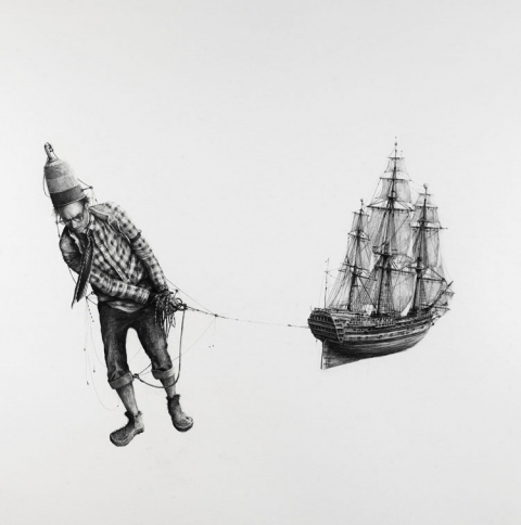 BIG PAPER AIRPLANE - ETHAN MURROW NYC - Doppler  graphite on paper