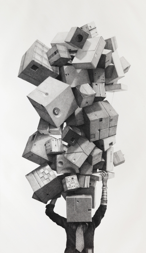 BIG PAPER AIRPLANE - ETHAN MURROW L.A. - Excess graphite on paper