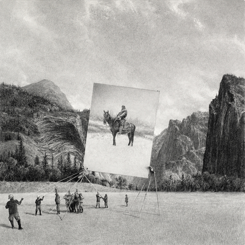 BIG PAPER AIRPLANE - ETHAN MURROW L.A. - Agglomerate graphite on paper