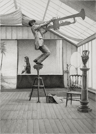 BIG PAPER AIRPLANE - ETHAN MURROW L.A. Failed Ballads graphite on paper