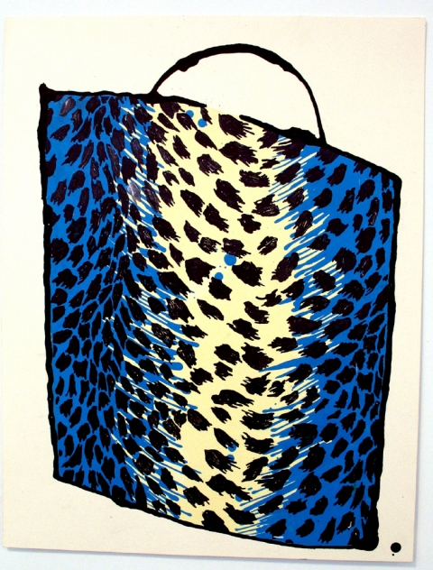 Bag Drawings Blue Leopard Bag
