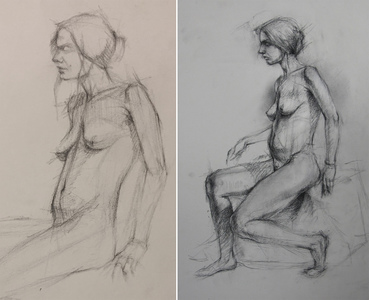 Bob Langnas Some Observational Work graphite (left), charcoal (right)