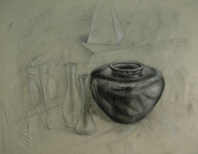 Bob Langnas Some Observational Work charcoal and white conte