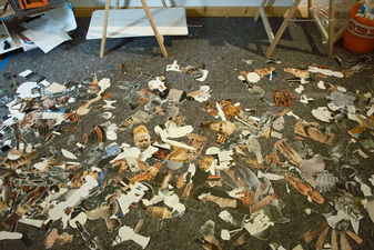 Clippings on Bo Joseph studio floor, Berlin, 2009