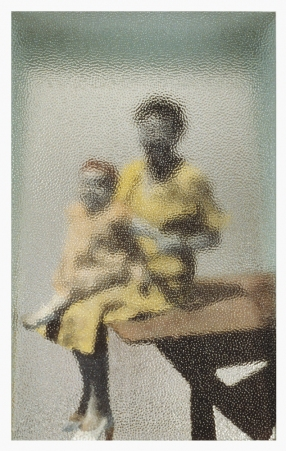 Photo Narratives Hand-tinted black and white photograph, textured glass, mirror, and painted wood