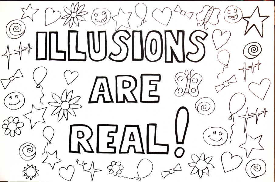 "HAPPY ART HISTORY!  ""ILLUSIONS ARE REAL!"" COLORING PAGE (TALKING CANVASES)"