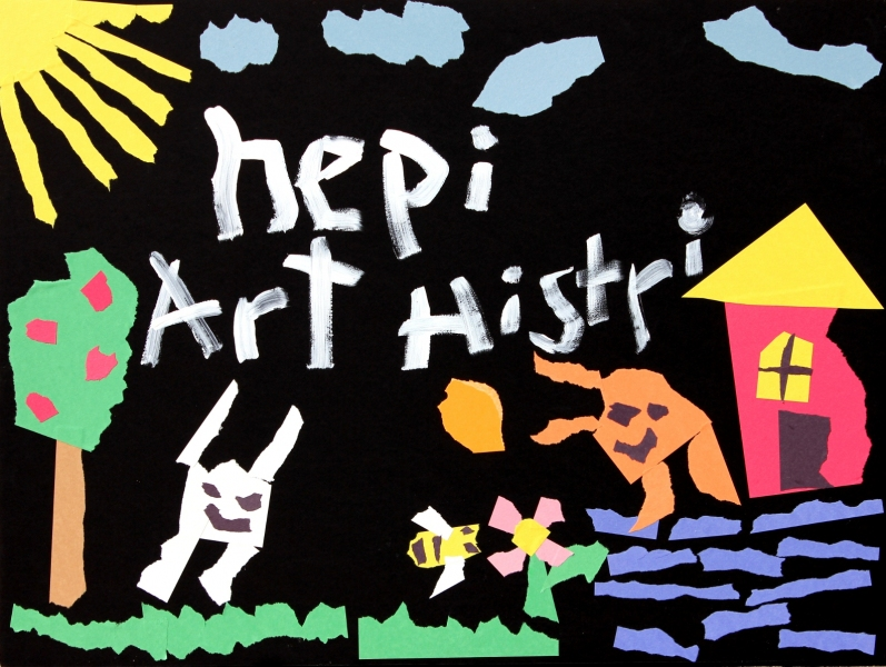 "HAPPY ART HISTORY!  ""HEPI ART HISTRI""."