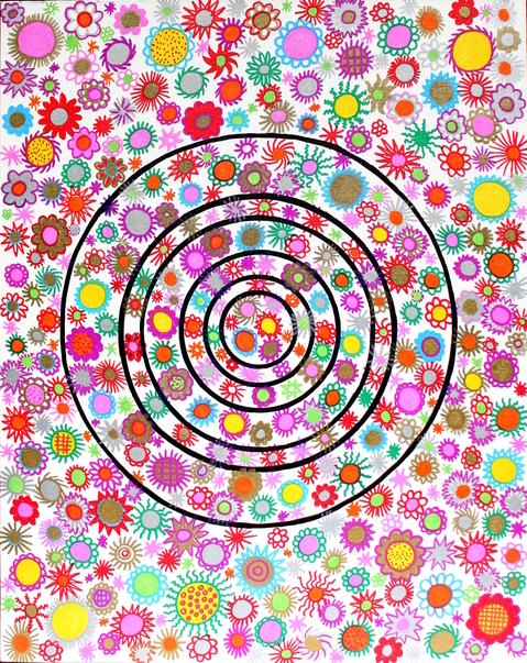 "GLAMOUR SANDPAPER  Cute Target 4. 18''x24"". Oil Markers, Permanent Markers on Canvas Board. 2015"