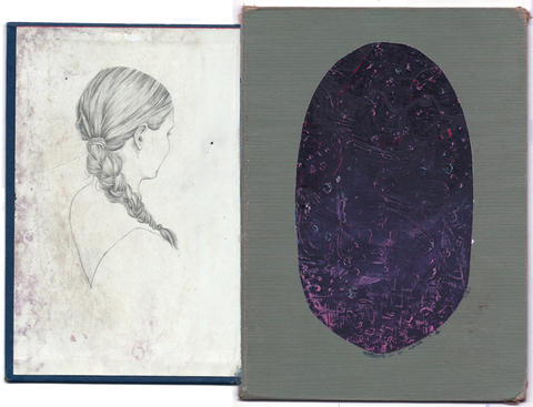 Brian Hitselberger Diptychs 2014 Oil paint, Graphite, chalk on found surfaces