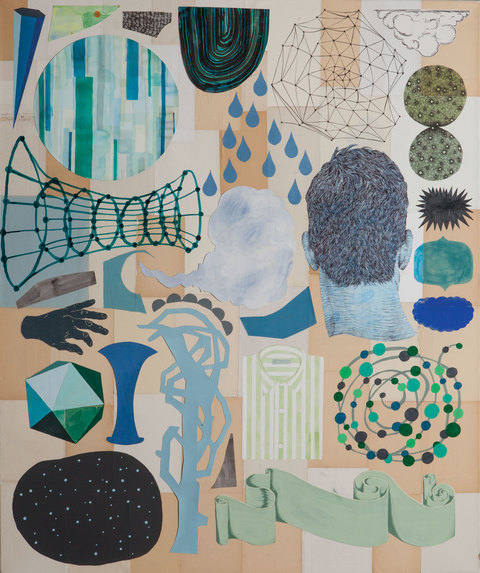 Brian Hitselberger Works on Paper 2016 Ink, watercolor, gouache, latex, acrylic, linocut, paper and mylar collage on canvas