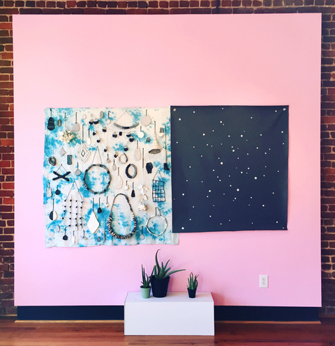 Brian Hitselberger Projects Ceramic, found object, acrylic on canvas, dye on linen, live aloe, latex on wall.