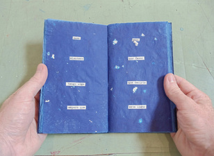 Brian Hitselberger Books Hand dyed mulberry paper with collaged text, silver leaf additions