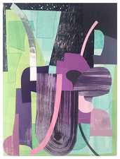 Brian Hitselberger Works on Paper 2018-19 Monotype, print collage, metal foil on paper