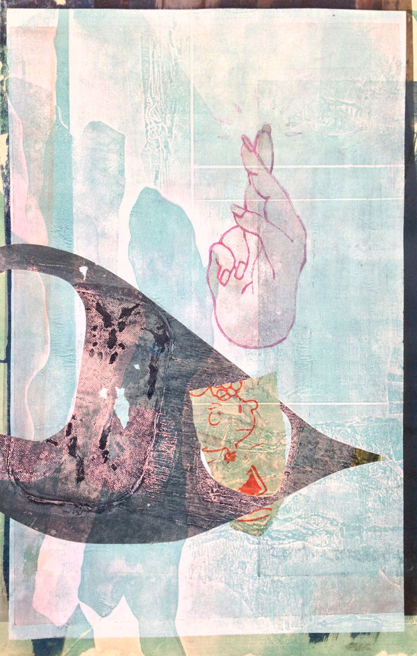 BRITTA URNESS prints collagraph, collage, chine-collé