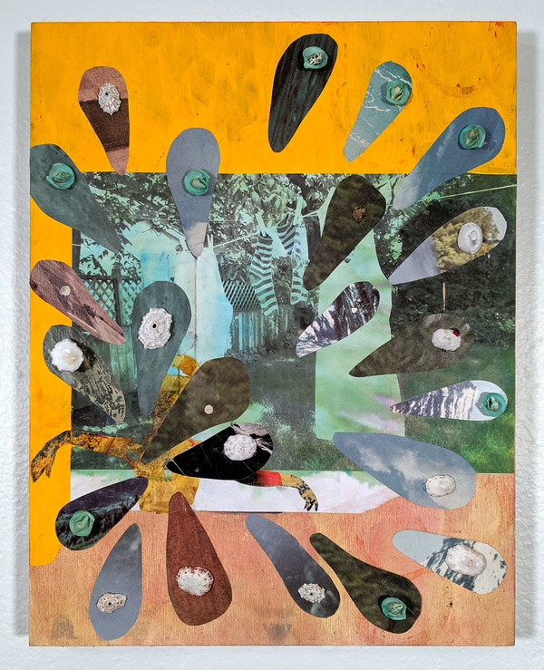 BRITTA URNESS draw/paint/collage acrylic, collage, and shells on panel