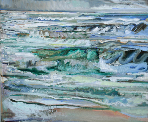 BRUCE LIEBERMAN WAVEY WAVES seawater, acrylic and oil on linen
