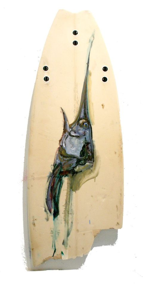 BRUCE LIEBERMAN FISH HEAD ICONS oil  on surfboard