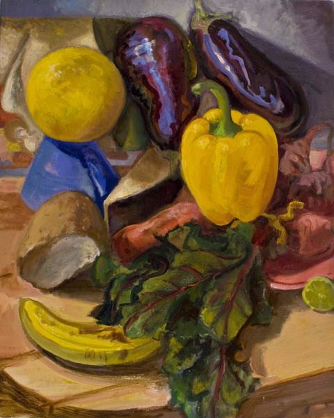 STILL LIFE Eggplant and pepper