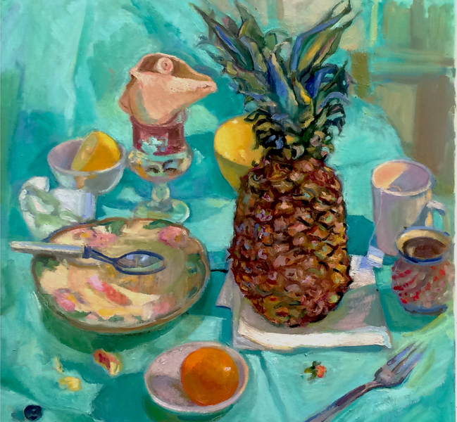 NATURE MORTE and not so morte Pineapple, Shell and Blueberry- just one