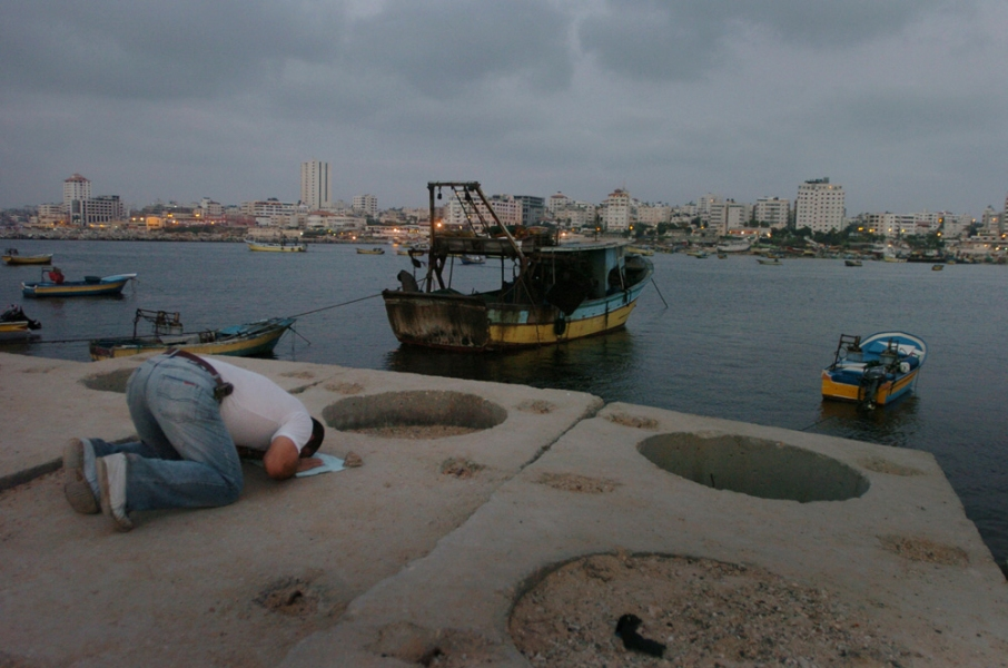 Gaza Strip and Israel Evening Prayers Over Gaza City Fishing Port