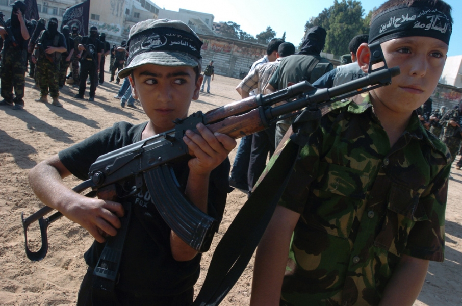 Gaza Strip and Israel Child Militants In Gaza City