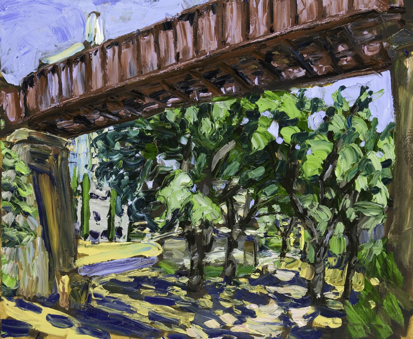 Austin Paintings Path under the Railroad Bridge