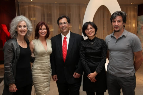 """the art of inspiration"" Camilla with artists Susan Manspeizer, Jim Felice, Yen-Hua Lee and Michael Manning."