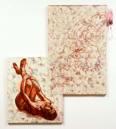 camille eskell Living Wills series Oil, Oil Stick, Oil Pastel, Lyonaise lace,  IV bag & tubing, & mixed media