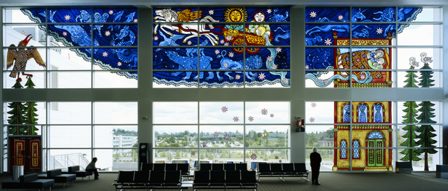 Cappy Thompson Sea-Tac Airport Vitreous enamels on glass