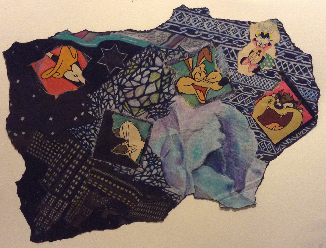 Cari Rosmarin cartoon characters collage, drawing/paper