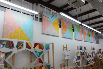 Carl Rainey Star Series--near ceiling--working on 5-7-8-9-10 sided paintings in this series