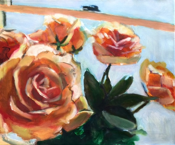 Orange Roses at the Window