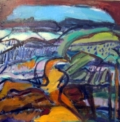 Carole Ann Danner Abstract Landscapes oil on wood panel