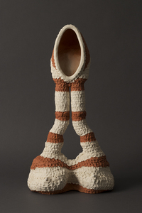 Carole Seborovski Sculpture Fired red and white clay, acrylic stain