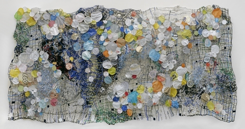 Caroline Lathan-Stiefel  Recent Wall Sculptures (2011-2012) pipe cleaners, fabric, plastic cut from shopping bags, wire, thread, pins