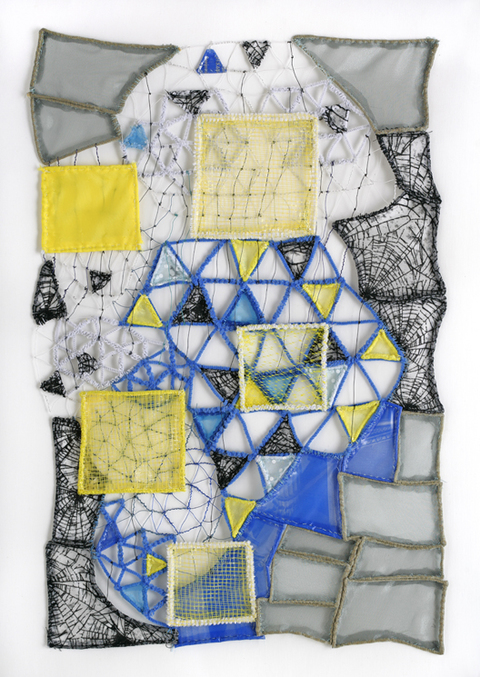 Caroline Lathan-Stiefel  Works on Paper & Sewn Textiles on Canvas (2007-2015) fabric, netting, pipe cleaners, wire, thread sewn on canvas