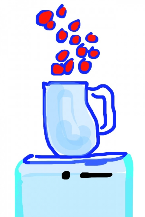 iPhone and Digital Drawings iPhone Drawing - Water Pitcher and Flower Petals