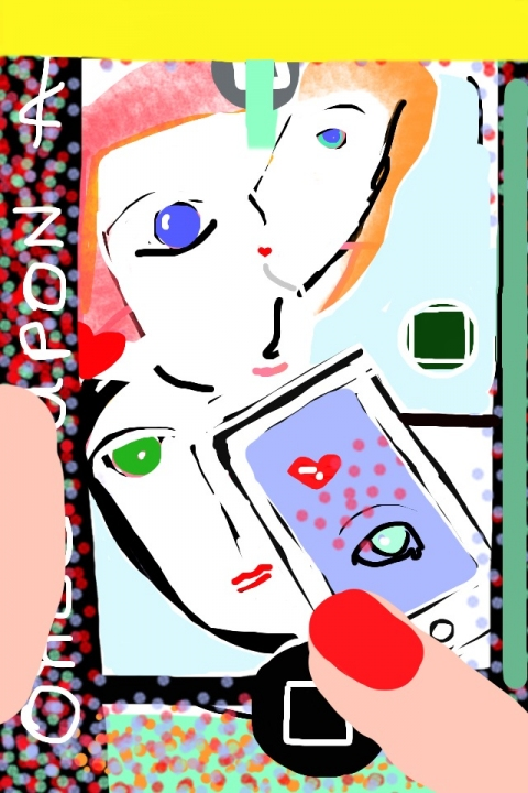 iPhone and Digital Drawings iPhone Drawing - Facebook crowd