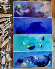 Caroline Tavelli-Abar Explorations oil on canvases