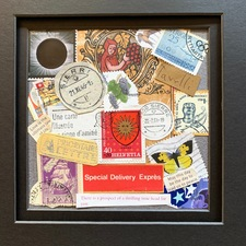 Caroline Tavelli-Abar Central Vermont Refugee Action Network Postage Stamp Collage