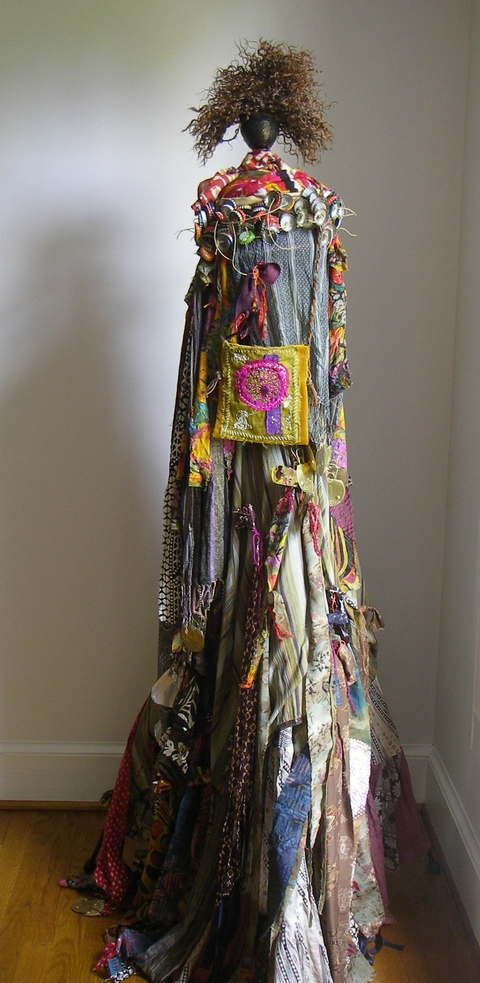 Carol Anna Meese 2016 Totems fabric, silk, velvet, bottle caps, leather, jute, catfood can lids