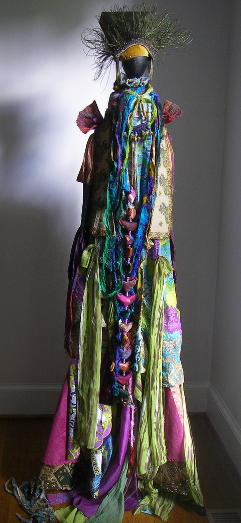 Carol Anna Meese 2016 Totems silk, cotton fabric, Indian birds, peacock feathers,bells, French embroidry scraps