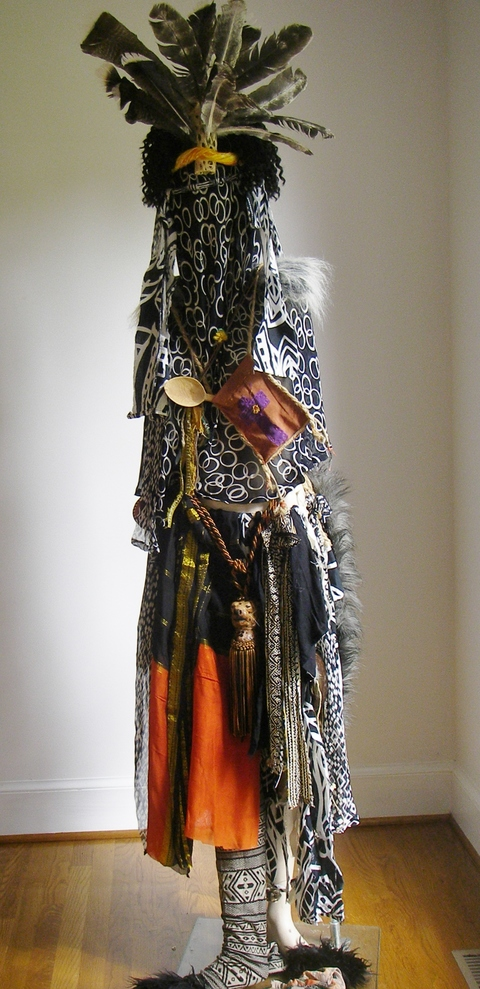 Carol Anna Meese 2016 Totems silk saree,fabric, feathers, rope, hair, wood, wool,bells