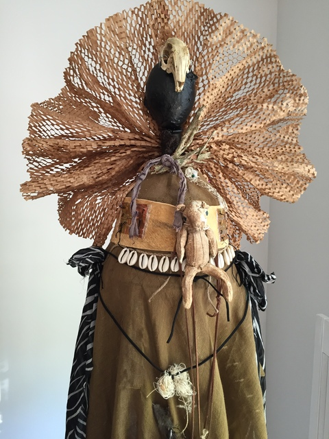 Carol Anna Meese 2016 Totems fabric, paper, bones, leather, shells, wool, found objects